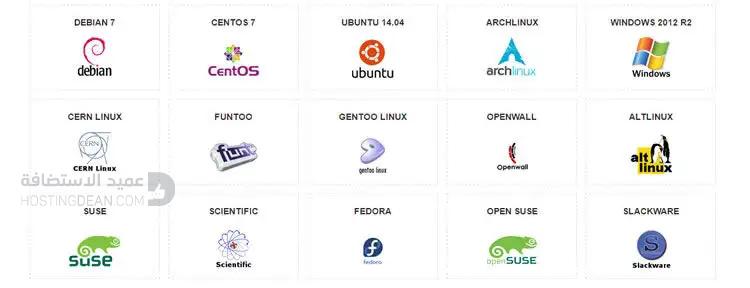 أنظمة تشغيل استضافة إنترسيرفر